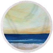 Sun Swept Coast- Abstract Seascape Round Beach Towel