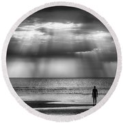 Sun Through The Clouds Bw 11x14 Round Beach Towel