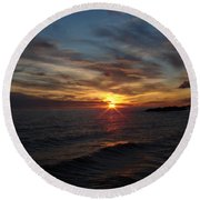 Round Beach Towel featuring the photograph Sun Up by Bonfire Photography