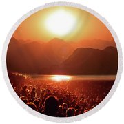 Round Beach Towel featuring the photograph Sun Worshipers by Christopher McKenzie