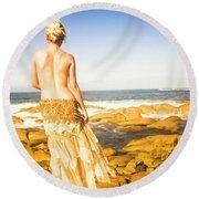 Sunbathing By The Sea Round Beach Towel