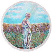 Round Beach Towel featuring the painting Sunbeam by Elizabeth Lock