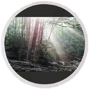 Sunbeam Streaming Into The Forest Round Beach Towel