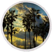 Round Beach Towel featuring the photograph Sunbeams And Palm Trees By Cabrillo Beach by Randall Nyhof