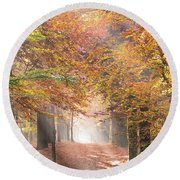 Sunbeams In A Forest In Autumn Round Beach Towel
