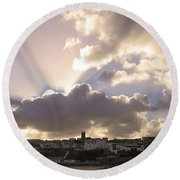 Sunbeams Over Church In Color Round Beach Towel by Nicholas Burningham