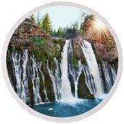 Sunburst Falls - Burney Falls Is One Of The Most Beautiful Waterfalls In California Round Beach Towel