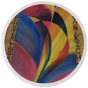 Sunburst Floorcloth Round Beach Towel