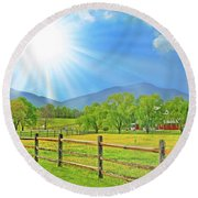 Sunburst Over Peaks Of Otter, Virginia Round Beach Towel