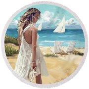 Sunday Afternoon At The Beach Round Beach Towel