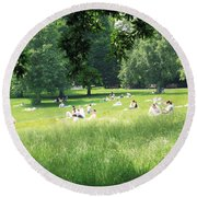 Sunday Afternoon At Waterlow Park Round Beach Towel by Helga Novelli