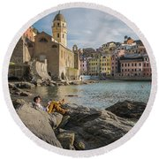 Sunday Afternoon In Vernazza Round Beach Towel