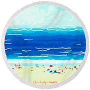 Round Beach Towel featuring the painting Sunday At Bondi by Chris Armytage