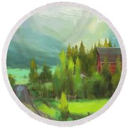 Round Beach Towel featuring the painting Sunday Drive by Steve Henderson