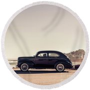 Round Beach Towel featuring the photograph Sunday Drive To The Beach by Edward Fielding