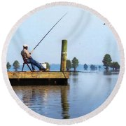 Sunday Fisherman Round Beach Towel