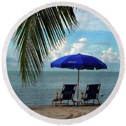 Sunday Morning At The Beach In Key West Round Beach Towel by Susanne Van Hulst