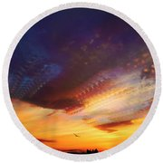 Round Beach Towel featuring the photograph Sunday Morning Coming Down by Karen Slagle