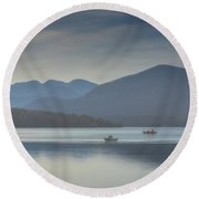 Round Beach Towel featuring the photograph Sunday Morning Fishing by Chris Lord