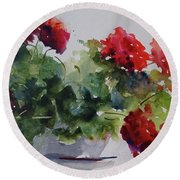 Round Beach Towel featuring the painting Sunday Morning Geraniums by Sandra Strohschein