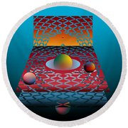 Round Beach Towel featuring the digital art Sunday Morning by Leo Symon