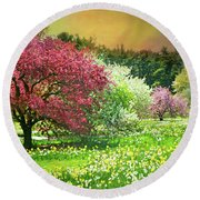 Round Beach Towel featuring the photograph Sunday My Day by Diana Angstadt