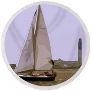 Sunday Sail Round Beach Towel