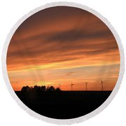 Sundown And Silhouettes Round Beach Towel