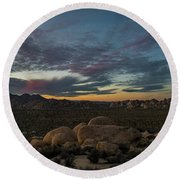 Sundown From Hilltop View Round Beach Towel