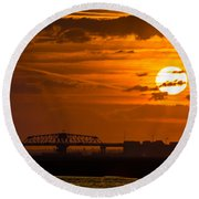 Sundown On The Charleston Coast  Round Beach Towel