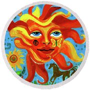 Round Beach Towel featuring the painting Sunface With Butterfly And Horse by Genevieve Esson