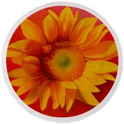 Sunflower #2 Round Beach Towel