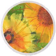 Big Sunflowers Watercolor And Pastel Painting Sf018 By Kmcelwaine Round Beach Towel