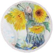 Sunflower-4 Round Beach Towel