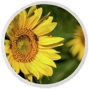 Round Beach Towel featuring the photograph Sunflower And Bee by Sandy Molinaro