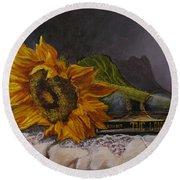 Sunflower And Book Round Beach Towel