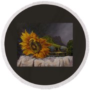 Sunflower And Book Round Beach Towel