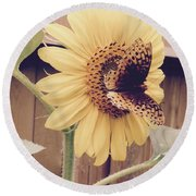 Sunflower And Butterfly Round Beach Towel