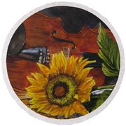 Sunflower And Violin Round Beach Towel