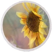Sunflower Art - Be The Sunflower Round Beach Towel