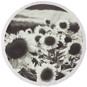 Round Beach Towel featuring the photograph Sunflower Black And White 1 by Andrea Anderegg