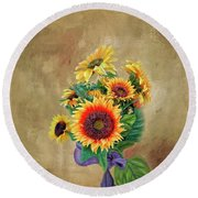 Round Beach Towel featuring the photograph Sunflower Bouqet by Mary Timman