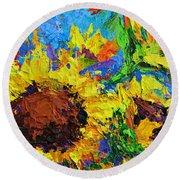 Sunflower Bunch, Modern Impressionistic Floral Still Life Palette Knife Work Round Beach Towel