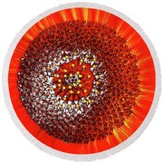 Sunflower Close Round Beach Towel