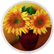 Sunflower Corner Round Beach Towel