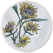 Sunflower Crazy Round Beach Towel