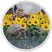 Sunflower Daydream  Round Beach Towel