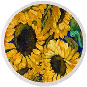 Sunflower Faces Round Beach Towel
