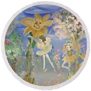 Round Beach Towel featuring the painting Sunflower Fairies by Judith Desrosiers