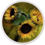 Sunflower Family Round Beach Towel